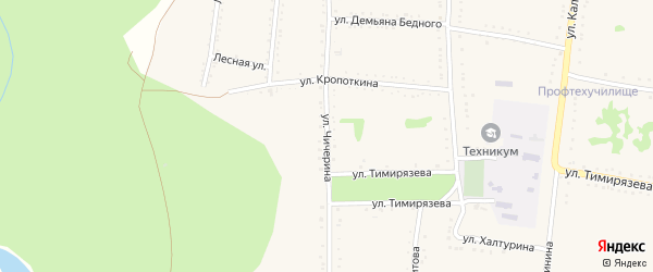Улица Чичерина на карте Григорополисской станицы Ставропольского края с номерами домов