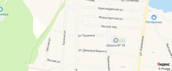 Улица Пушкина на карте Григорополисской станицы Ставропольского края с номерами домов