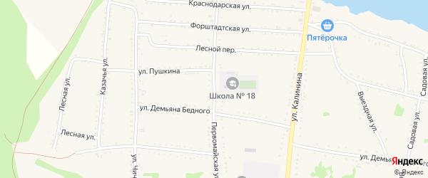 Первомайская улица на карте Григорополисской станицы Ставропольского края с номерами домов