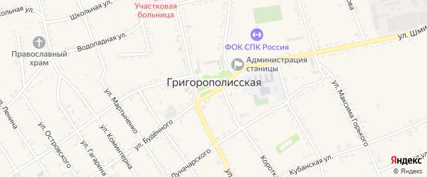 Форштадский переулок на карте Григорополисской станицы Ставропольского края с номерами домов