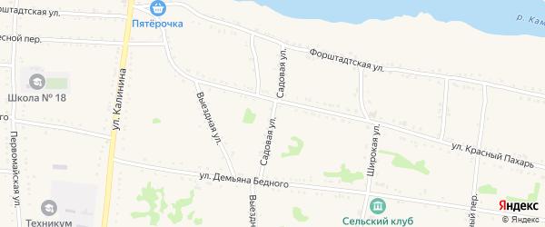 Садовая улица на карте Григорополисской станицы Ставропольского края с номерами домов