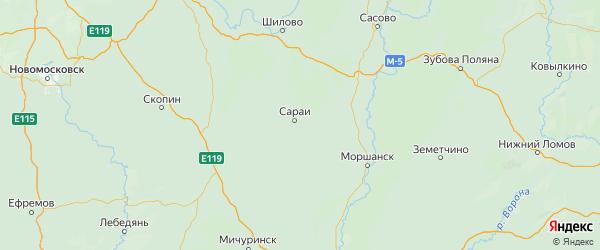 Карта Сараевского района Рязанской области с городами и населенными пунктами