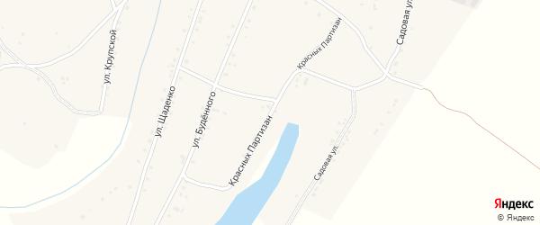 Улица Красных партизан на карте слободы Большинки Ростовской области с номерами домов