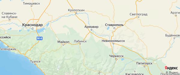Карта Новокубанского района Краснодарского края с городами и населенными пунктами