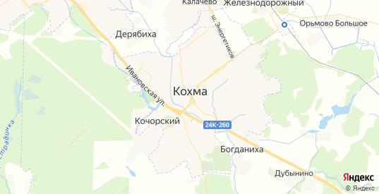 Карта Кохмы с улицами и домами подробная. Показать со спутника номера домов онлайн