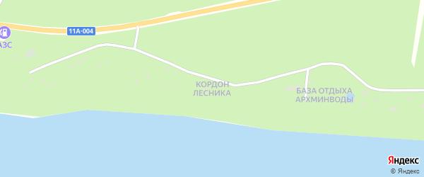 Улица Кордон лесника на карте поселка Боброво Архангельской области с номерами домов