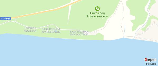 Территория База отдыха Мостострой N 6 на карте поселка Боброво Архангельской области с номерами домов