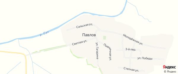 Карта хутора Павлова в Ростовской области с улицами и номерами домов