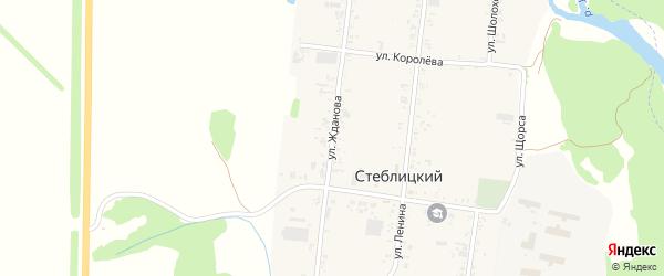 Улица Жданова на карте Стеблицкого хутора Краснодарского края с номерами домов
