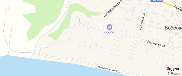 Нагорная улица на карте поселка Боброво Архангельской области с номерами домов
