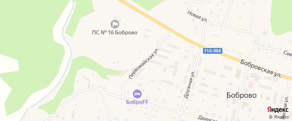 Первомайская улица на карте поселка Боброво Архангельской области с номерами домов