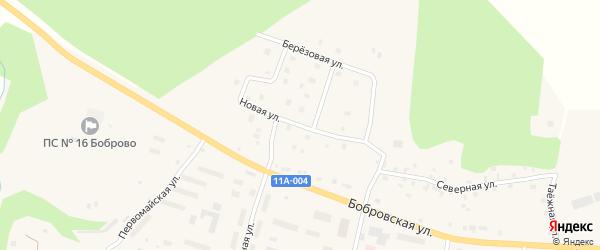 Новая улица на карте поселка Боброво Архангельской области с номерами домов