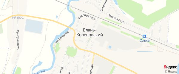 Карта Елани-Коленовского поселка в Воронежской области с улицами и номерами домов