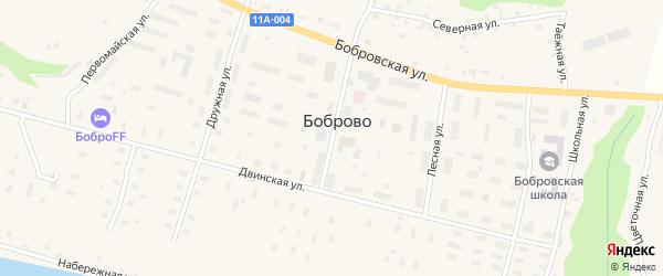 Улица Неманова на карте поселка Боброво Архангельской области с номерами домов