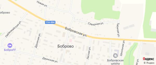 Бобровская улица на карте поселка Боброво Архангельской области с номерами домов