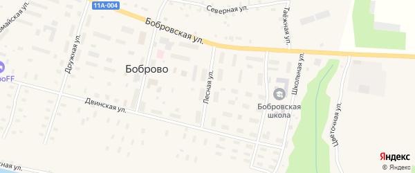 Лесная улица на карте поселка Боброво Архангельской области с номерами домов