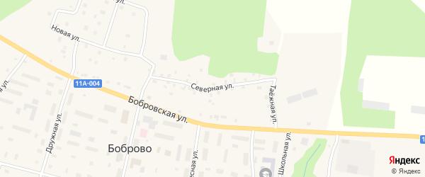 Северная улица на карте поселка Боброво Архангельской области с номерами домов