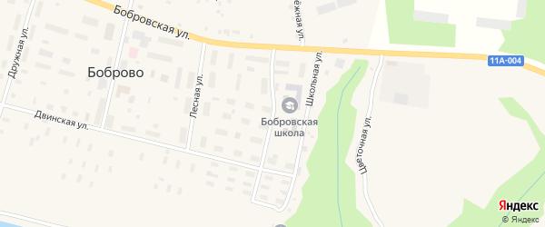 Улица Сплавщиков на карте поселка Боброво Архангельской области с номерами домов