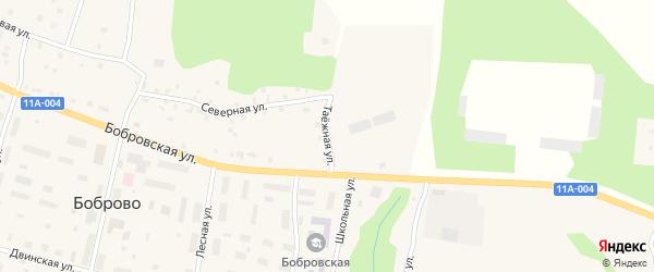 Таежная улица на карте поселка Боброво Архангельской области с номерами домов
