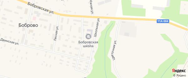 Школьная улица на карте поселка Боброво Архангельской области с номерами домов