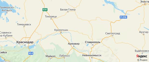 Карта Новоалександровского района Ставропольского края с городами и населенными пунктами
