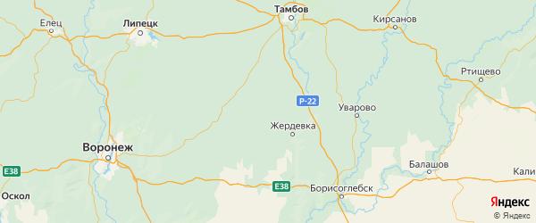 Карта Токаревского района Тамбовской области с городами и населенными пунктами