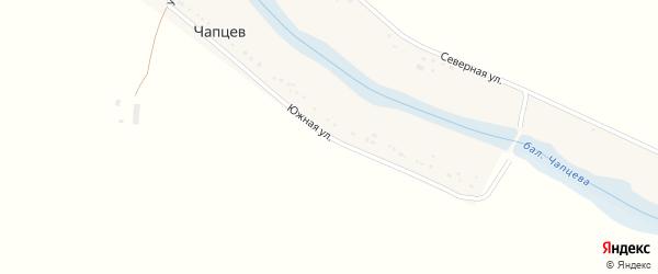 Южная улица на карте хутора Чапцева Ставропольского края с номерами домов