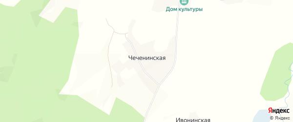 Карта Чеченинской деревни в Вологодской области с улицами и номерами домов
