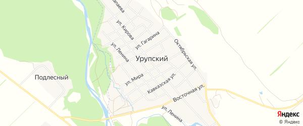 Карта Урупского аула в Краснодарском крае с улицами и номерами домов