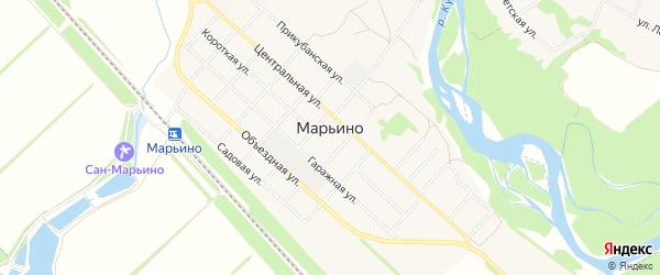 Карта села Марьино в Краснодарском крае с улицами и номерами домов