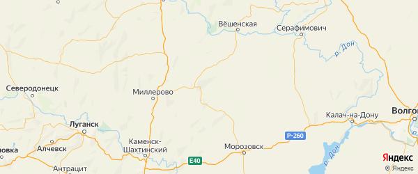Карта Кашарского района Ростовской области с городами и населенными пунктами