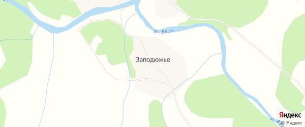 Карта деревни Заподюжья в Архангельской области с улицами и номерами домов