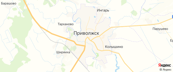 Карта Приволжска с районами, улицами и номерами домов: Приволжск на карте России