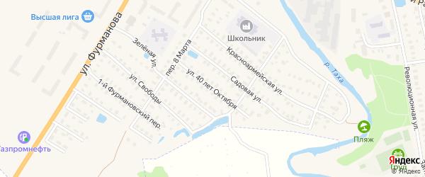 Улица 40 лет Октября на карте Приволжска с номерами домов