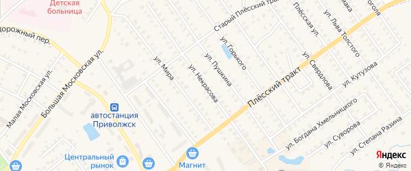 Улица Некрасова на карте Приволжска с номерами домов