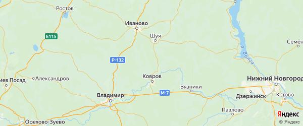 Карта Савинского района Ивановской области с городами и населенными пунктами