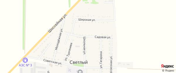 Садовая улица на карте Светлого поселка Ставропольского края с номерами домов