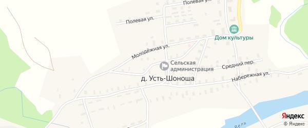 Северный переулок на карте деревни Усть-Шоноши Архангельской области с номерами домов