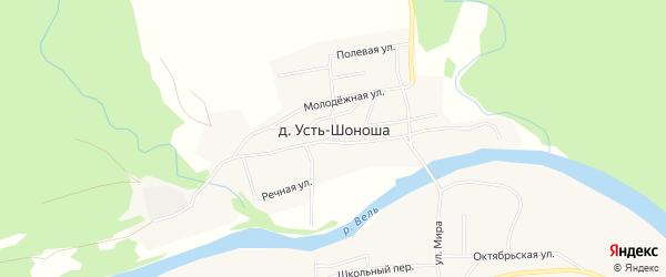 Карта деревни Усть-Шоноши в Архангельской области с улицами и номерами домов