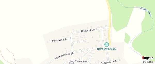 Полевая улица на карте деревни Усть-Шоноши Архангельской области с номерами домов