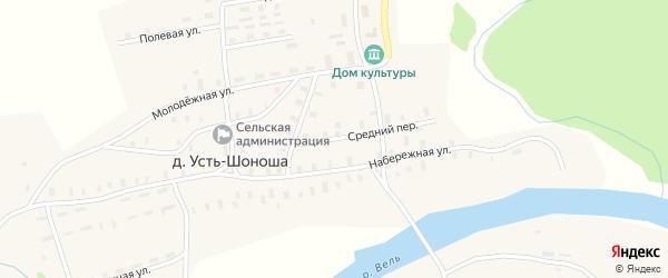 Средний переулок на карте деревни Усть-Шоноши Архангельской области с номерами домов