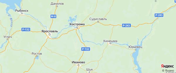 Карта Красносельского района Костромской области с городами и населенными пунктами