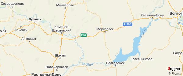 Карта Тацинского района Ростовской области с городами и населенными пунктами