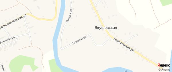Полевая улица на карте Якушевской деревни с номерами домов