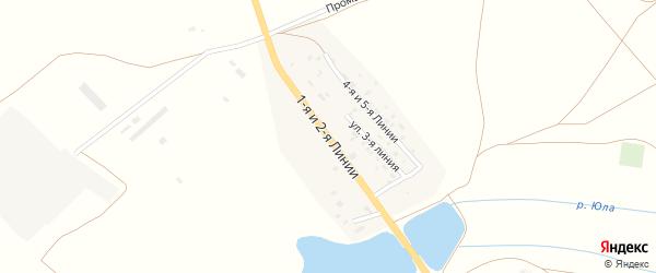 Улица 1-я линия на карте поселка Супруна Ростовской области с номерами домов