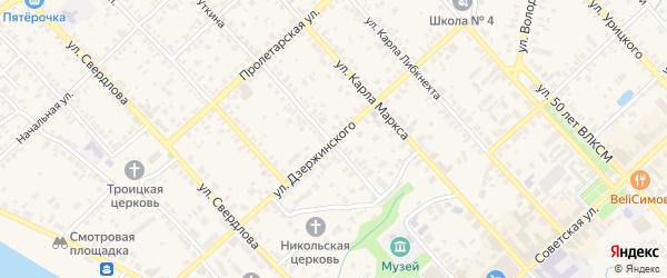 Улица Дзержинского на карте Касимова с номерами домов