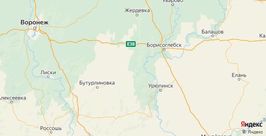 Карта Новохоперского района Воронежской области с городами и населенными пунктами