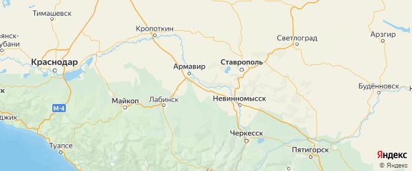 Карта Успенского района Краснодарского края с городами и населенными пунктами