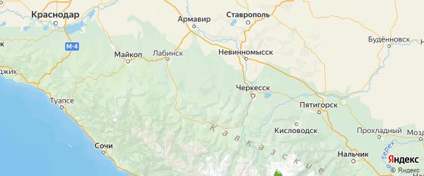 Карта Отрадненского района Краснодарского края с городами и населенными пунктами
