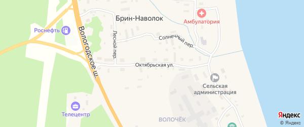 Октябрьская улица на карте поселка Брина-Наволока Архангельской области с номерами домов